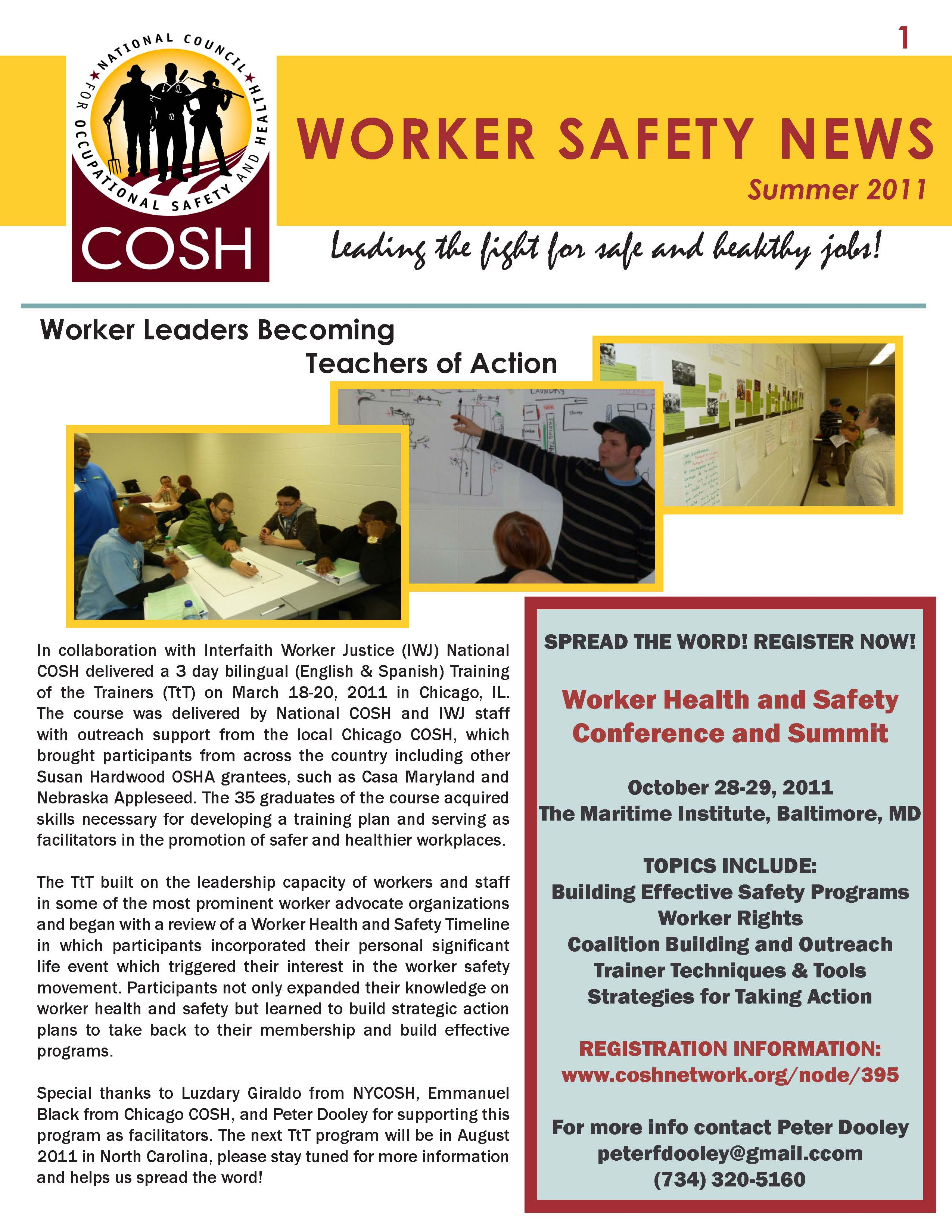 COSH newsletter summer 2011 page 1
