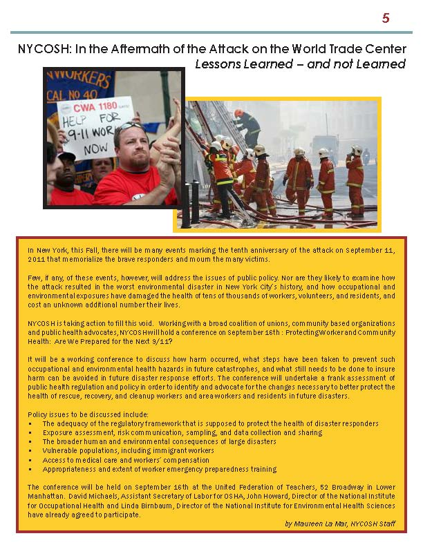 COSH newsletter summer 2011 page 5