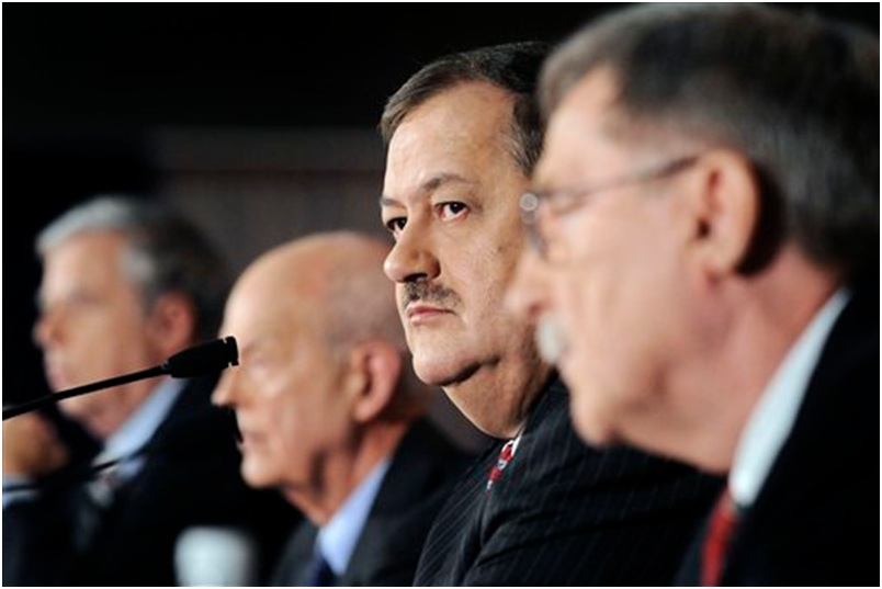 Massey Energy board members, with Don Blankenship (second from right) at a press conference in West Virginia shorty after an explosion killed 29 miners at their Upper Big Branch coal mine.