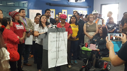 Standing up for safety with SoCalCOSH, UCLA-LOSH and the National Day Laborer Organizing Network at the Los Angeles County Federation of Labor